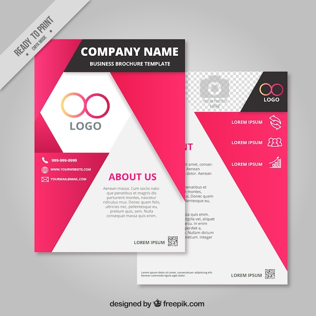 Business brochure template with geometric forms