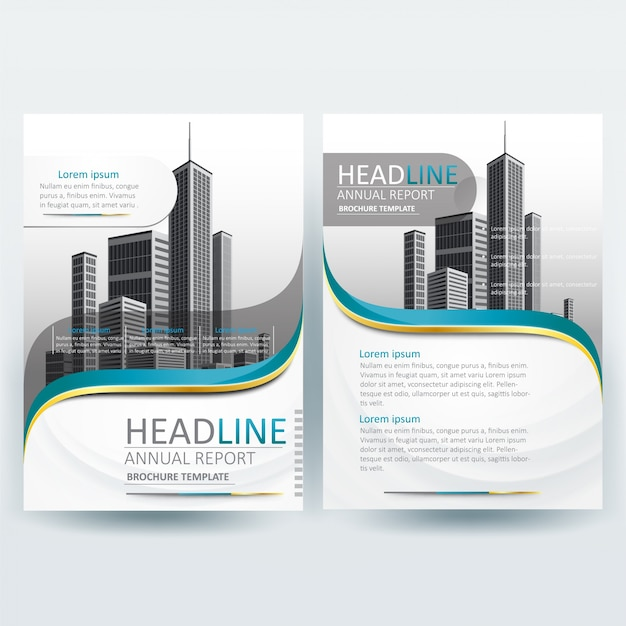 business brochure template with green and gold wavy premium vector