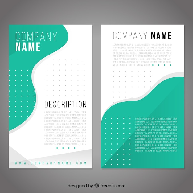 Business brochure template with green forms