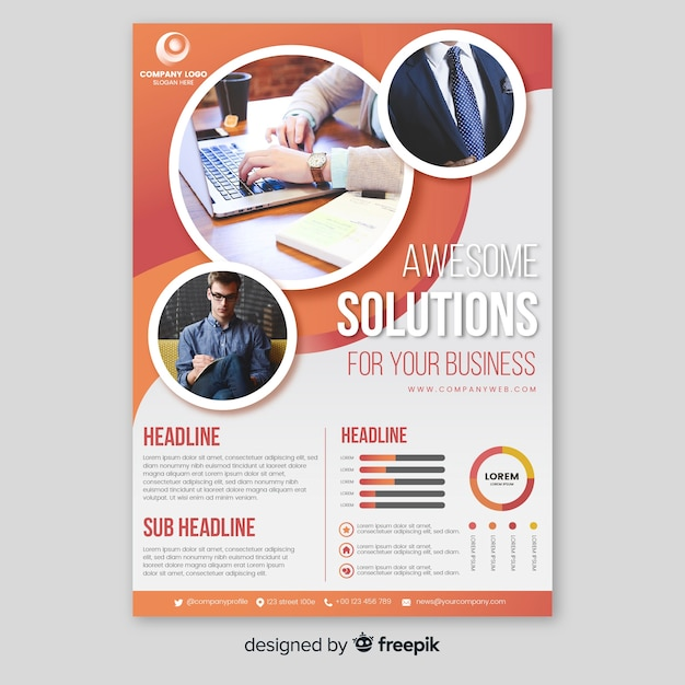 Business brochure template with photo Free Vector