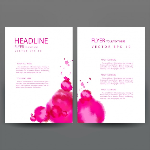 business brochure template with pink watercolor vector free download