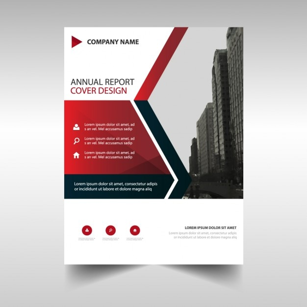 business brochure template with red geometric shapes vector free