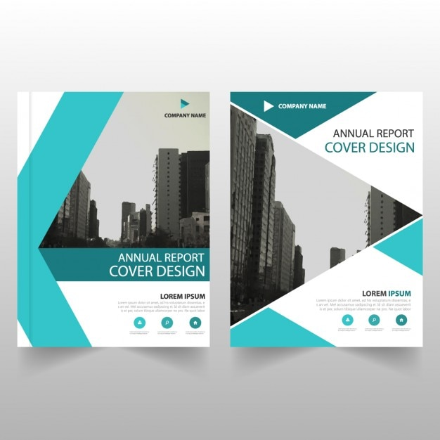 Business Brochure Template With Turquoise Geometric Shapes Vector - Company brochure templates free download