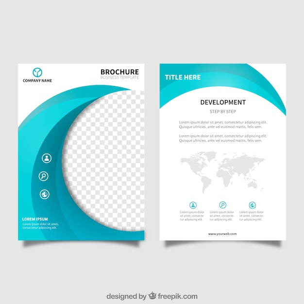 Business brochure template with wavy form in blue tones