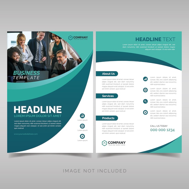 Business brochure template with wavy shapes Premium Vector