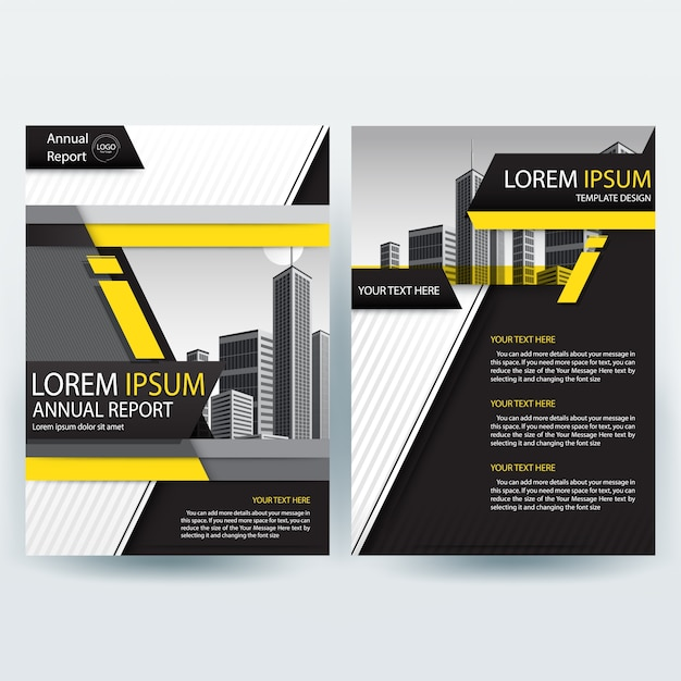 business brochure template with yellow and black geometric shapes free vector