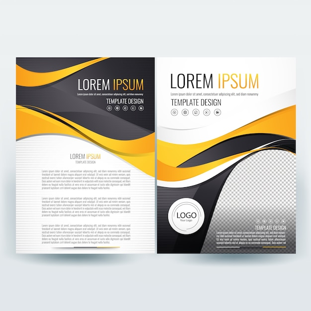 business brochure template with yellow and black wavy shapes free vector