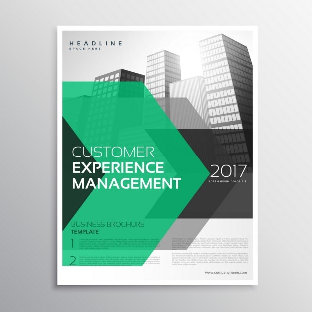 Business brochure with green and black geometric shapes