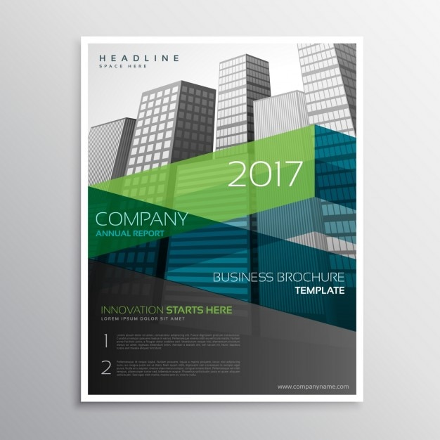 Business brochure with green and blue geometric shapes