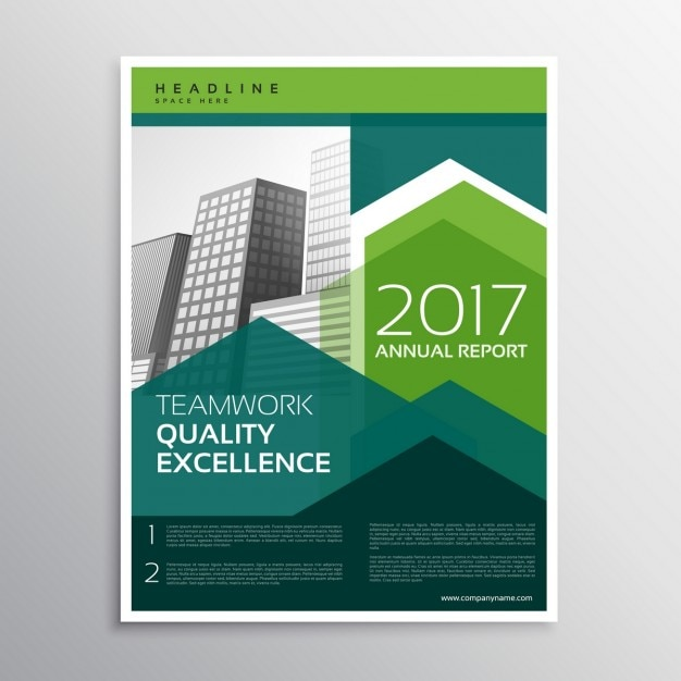 Business brochure with green geometric shapes