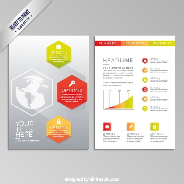business brochure with hexagons vector free download