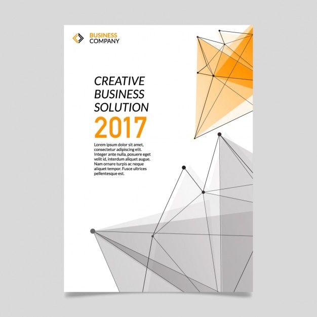 Business brochure with polygonal shapes Free Vector