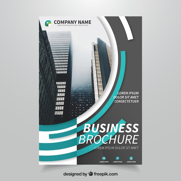 Business brochure with semicircular forms Free Vector