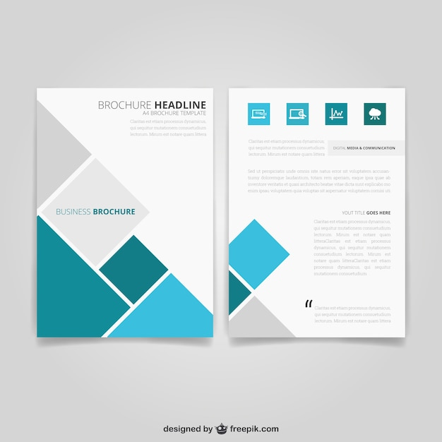 Business Brochure With Squares Vector Free Download - Brochure flyer templates