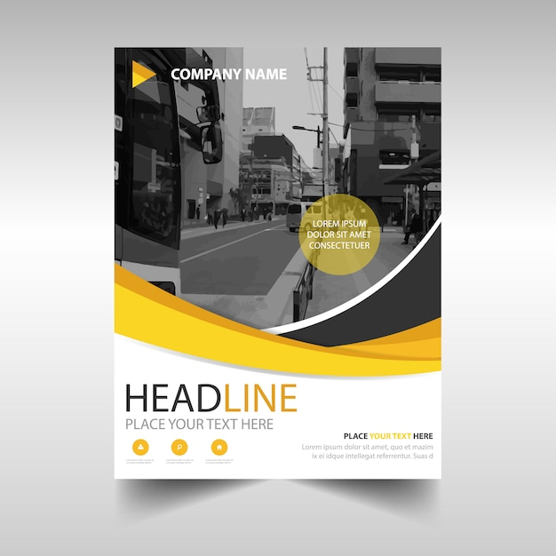Business brochure with yellow shapes Free Vector