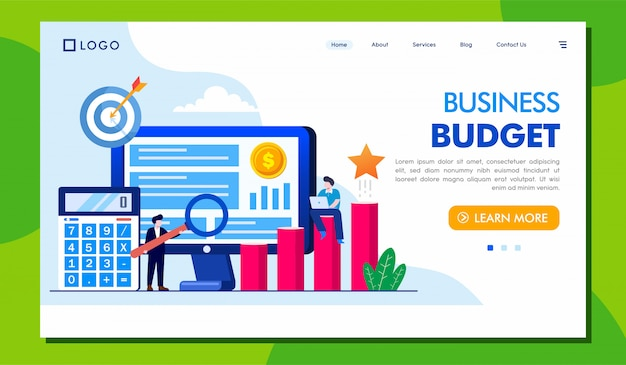 Business budget landing page website Premium Vector