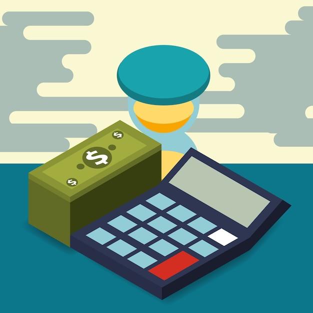 Business calculator hourglass pile banknote money isometric Premium Vector