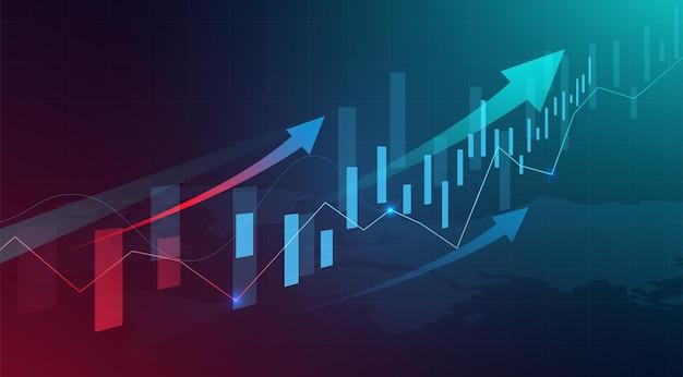 ビジネスローソク足グラフチャートの背景 Premiumベクター