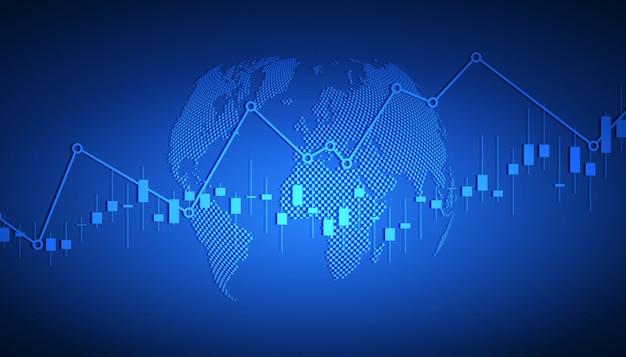 株式市場の投資取引、強気のポイント、ビジネスと財務の概念、レポートおよび投資の強気のポイントのビジネスキャンドルスティックグラフ。図 Premiumベクター