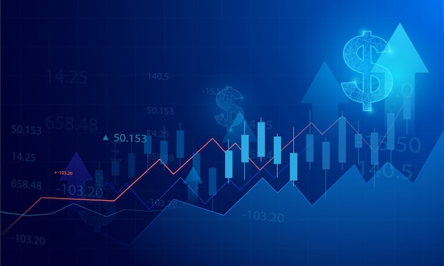 青い背景の株式市場の投資取引のビジネスローソク足グラフチャート。強気ポイント、グラフのトレンド。 Premiumベクター