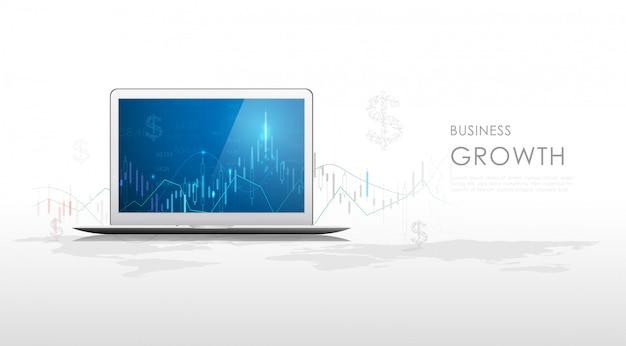 タブレットモニターでの株式市場の投資取引のビジネスキャンドルスティックグラフ。 Premiumベクター