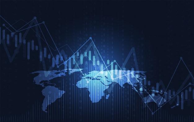 株式市場投資のビジネスキャンドルスティックグラフ Premiumベクター