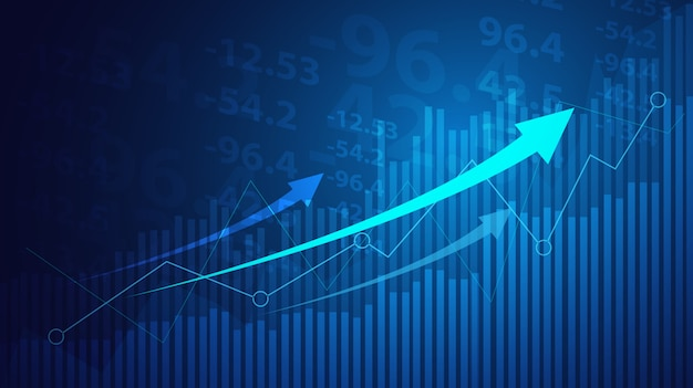 Business candle stick graph chart of stock market investment trading on blue background. Premium Vector