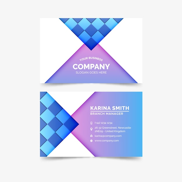Business card abstract colorful template Free Vector