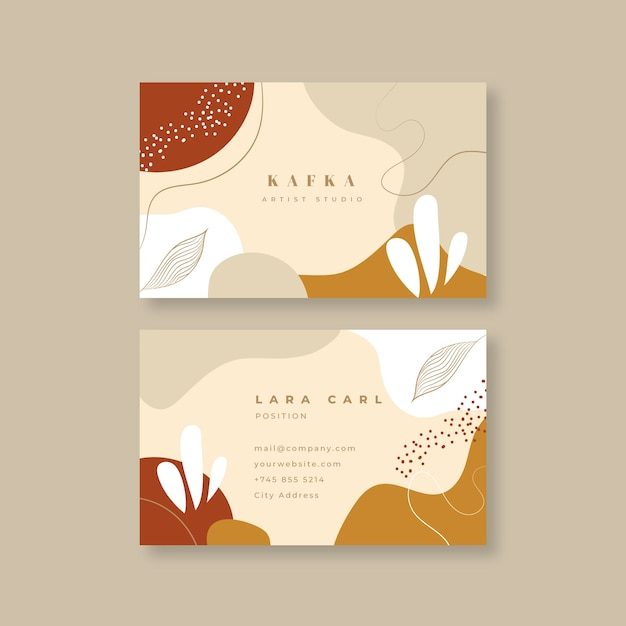 Business card in abstract painted style Premium Vector