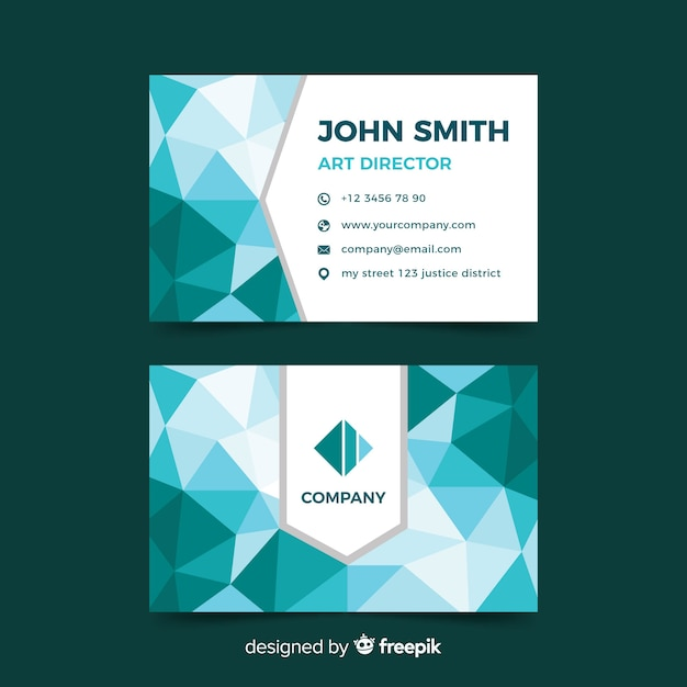 Business card abstract polygonal Free Vector