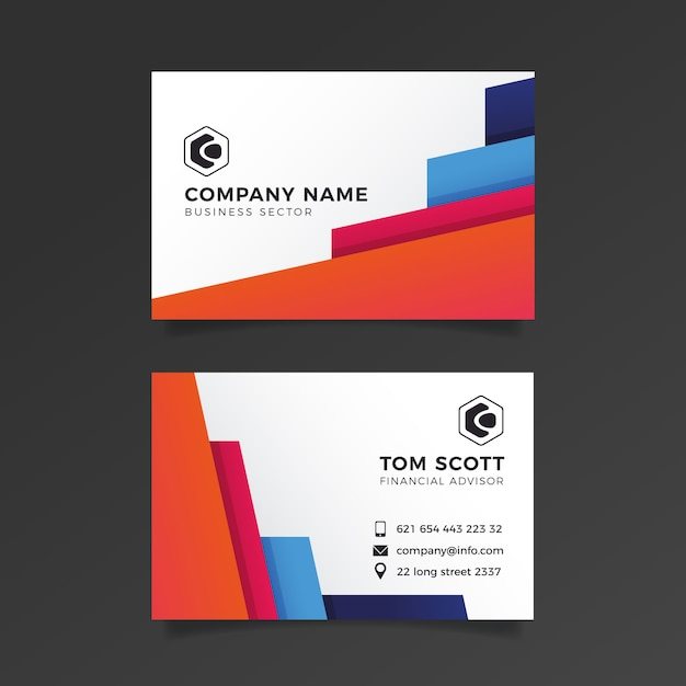 Business card abstract template set Free Vector