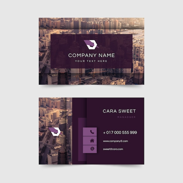 Business card abstract template with image Free Vector