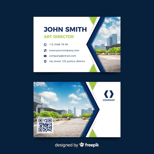 Business card abstract template with photo Free Vector