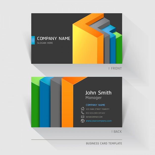 Business card abstract with geometric shapes Premium Vector