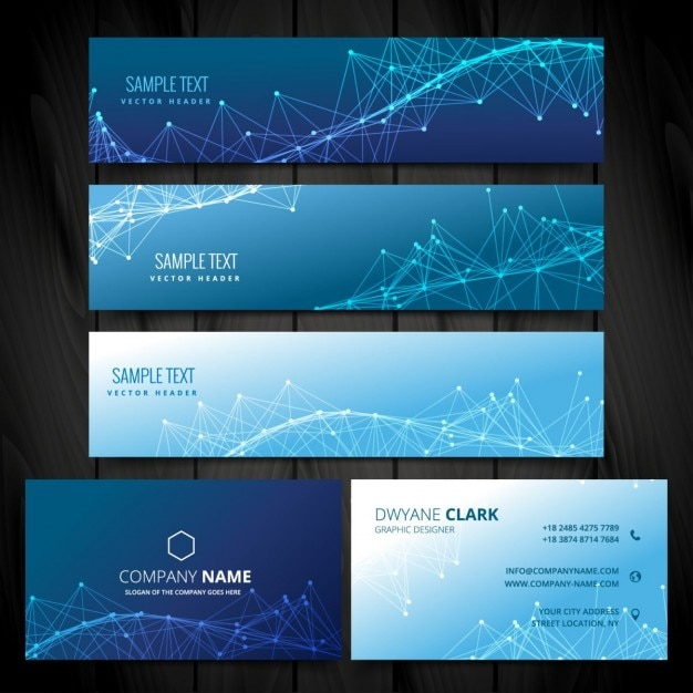 Business card and web banners collection Vector   Free Download