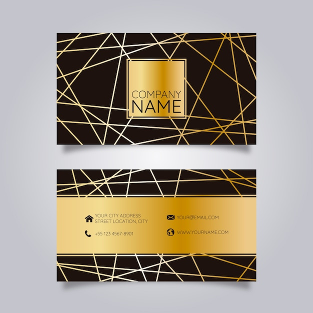 Business card black with golden geometric lines Premium Vector
