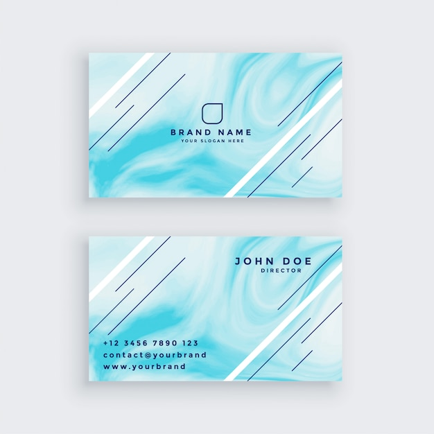 Business card in blue marble texture Free Vector