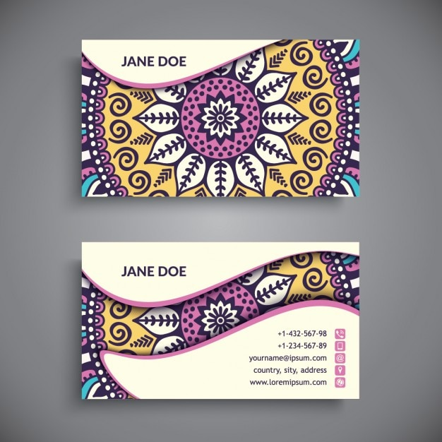 Business Card Boho Style Vector Free Download
