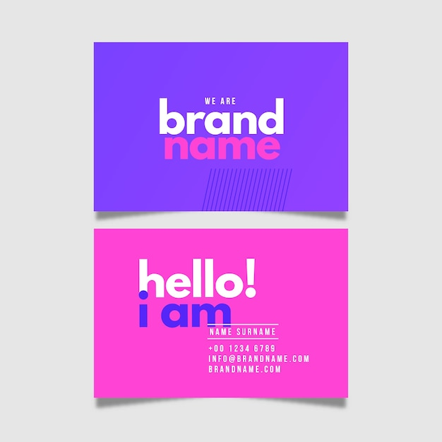 Business card colorful minimal collection Free Vector