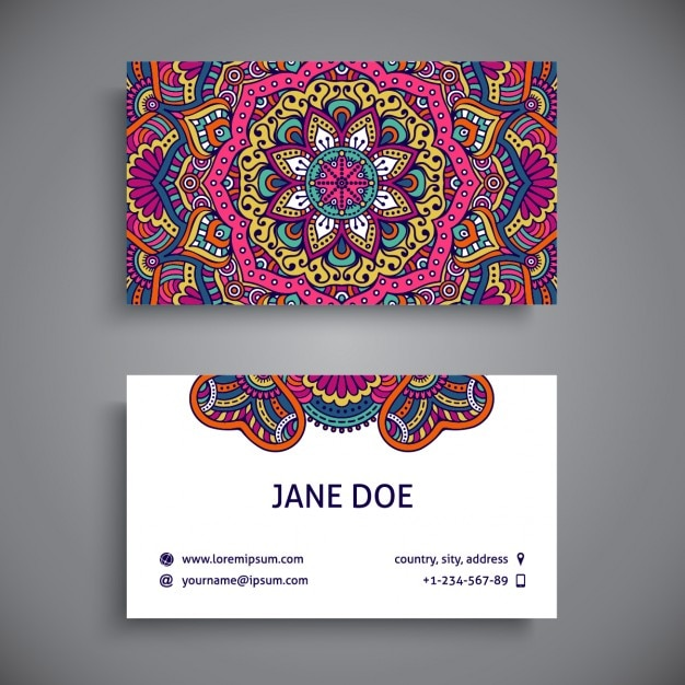 Business card decorated with full color mandalas Free Vector