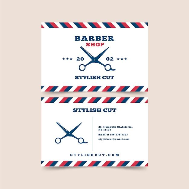 はさみで理髪店の名刺デザイン Premiumベクター