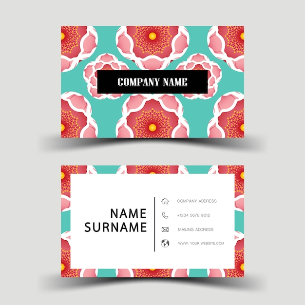 Business card design on the gray background. with inspiration from flower. Premium Vector