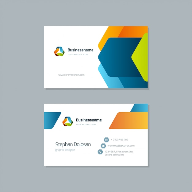 Business card design trendy colorful template vector editable template 3.5x2 with bleed Premium Vector