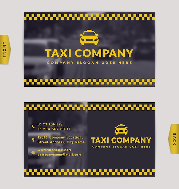 Business card design with blurred background. stylish template for taxi company. Premium Vector