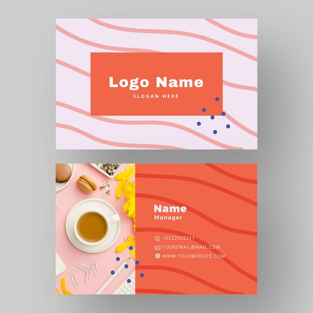 Business card design with coffee photo Free Vector