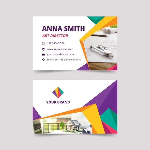 Business card design with photo Free Vector