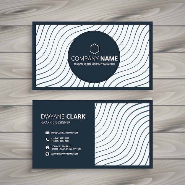 Business card design with wavy lines Free Vector