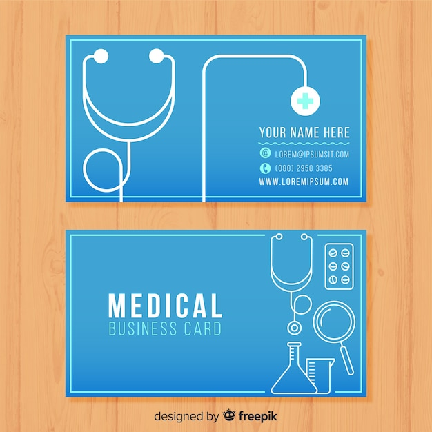 Business card for doctor Free Vector