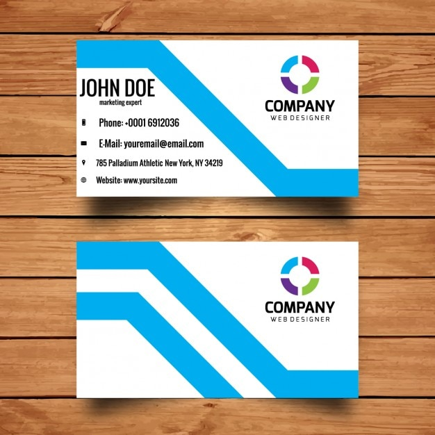Business Card In Flat Design Style Free Vector
