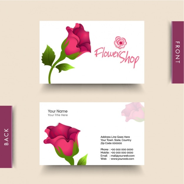 Business Card For Flower Shop Vector